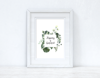 Custom Wording Watercolour Greenery Happiness Is Homemade Wreath Bedroom Home Kitchen Living Room Wall Decor Print