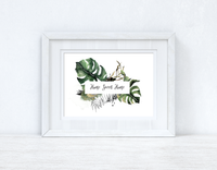 Custom Wording Watercolour Greenery Home Sweet Home Landscape Wreath Bedroom Home Kitchen Living Room Wall Decor Print