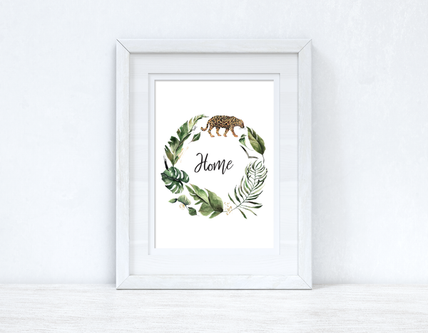 Custom Wording Watercolour Greenery Leopard Wreath Bedroom Home Kitchen Living Room Wall Decor Print