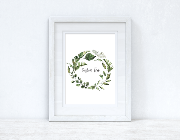 Custom Wording Watercolour Greenery Wreath Bedroom Home Kitchen Living Room Wall Decor Print