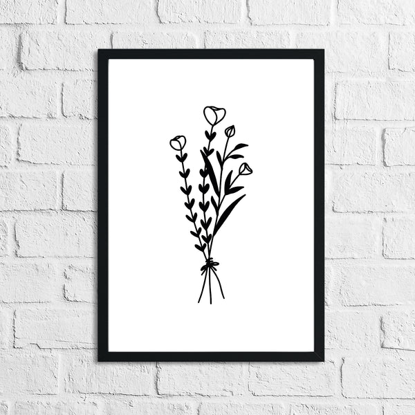 Flower 2 Simple Line Work Bedroom Home Wall Decor Print