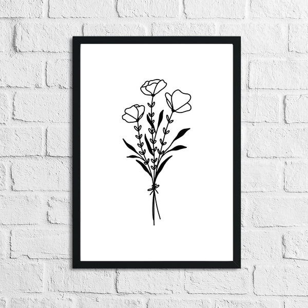 Flower 3 Simple Line Work Bedroom Home Wall Decor Print