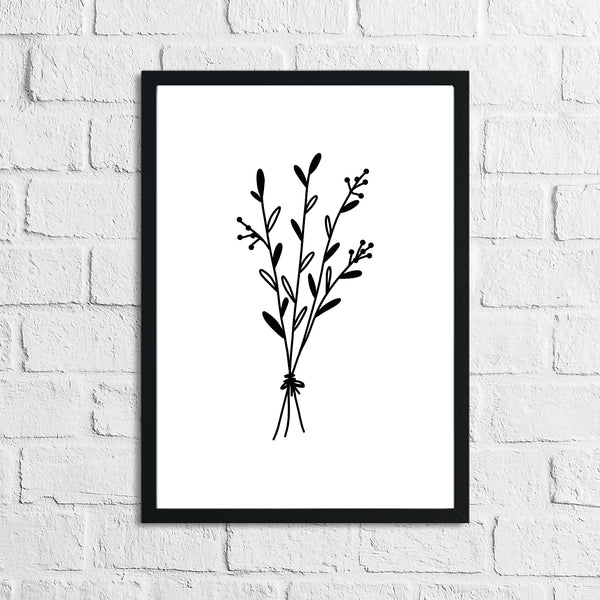 Flower 4 Simple Line Work Bedroom Home Wall Decor Print