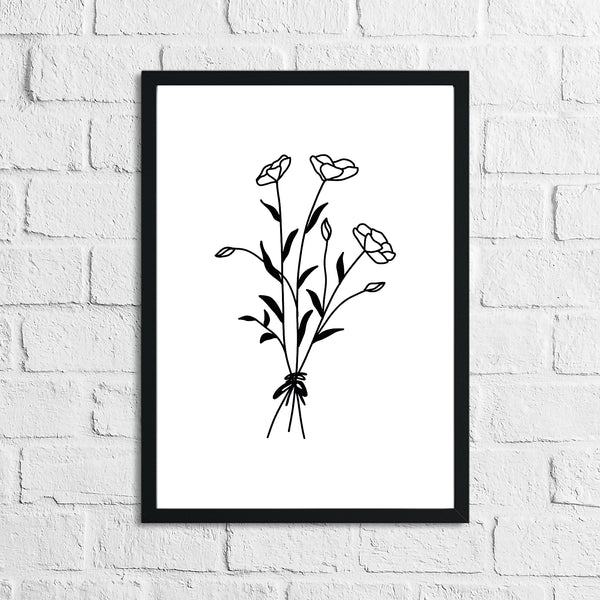 Flower 5 Simple Line Work Bedroom Home Wall Decor Print