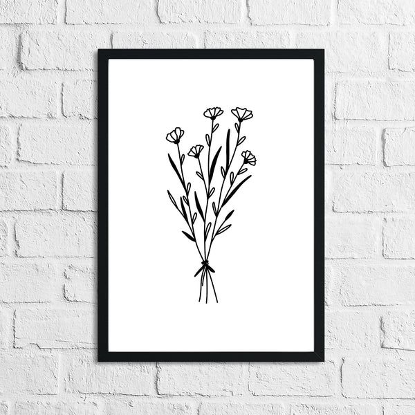 Flower 6 Simple Line Work Bedroom Home Wall Decor Print