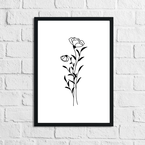 Flower 9 Simple Line Work Bedroom Home Wall Decor Print
