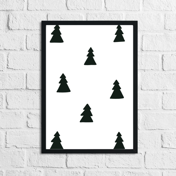 Scandinavian Forest Tree Pattern Children's Nursery Bedroom Wall Decor Print