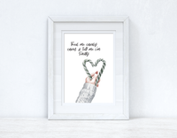 Feed Me Candy Canes Christmas Seasonal Wall Home Decor Print