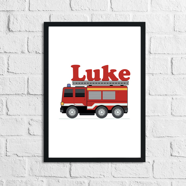 Personalised Fire Engine Name Children's Room Wall Decor Print
