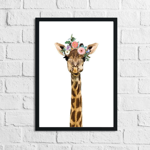 Giraffe Wild Animal Floral Nursery Children's Room Wall Decor Print