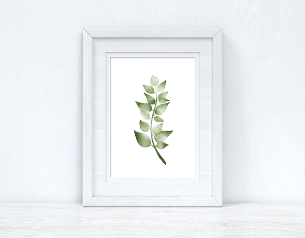 Greens Watercolour Leaves 2 Bedroom Home Wall Decor Print
