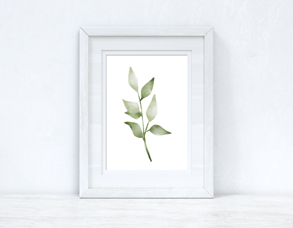 Greens Watercolour Leaves 5 Bedroom Home Wall Decor Print