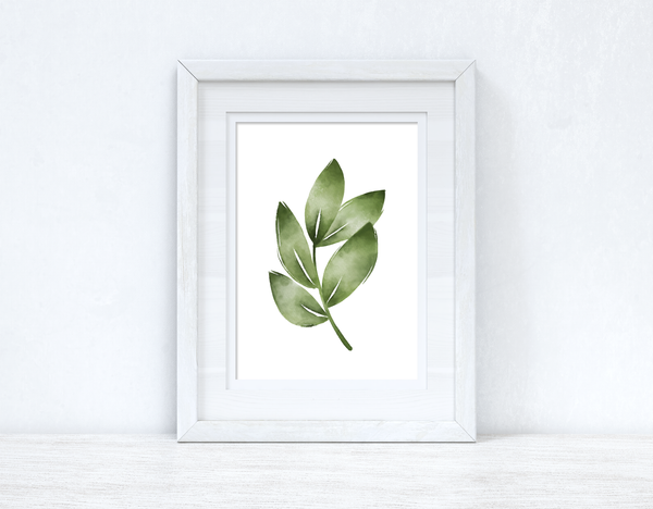 Greens Watercolour Leaves Bedroom Home Wall Decor Print