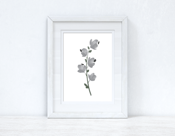 Grey Black Green Watercolour Flower 1 Bedroom Home Wall Decor Print