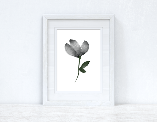Grey Black Green Watercolour Flower 2 Bedroom Home Wall Decor Print