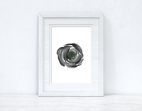 Grey Black Green Watercolour Flower 3 Bedroom Home Wall Decor Print
