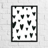 Scandinavian Heart Pattern Children's Nursery Bedroom Wall Decor Print
