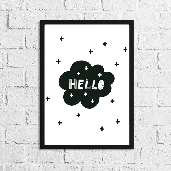 Scandinavian Hello Cloud Children's Nursery Bedroom Wall Decor Print