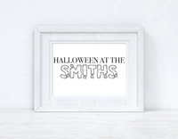 Halloween At The (Surname) Autumn Seasonal Wall Home Decor Print