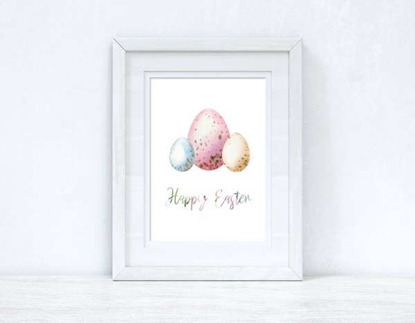 Happy Easter Pastel Eggs Spring Seasonal Wall Home Decor Print