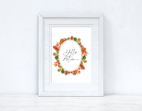 Hello Autumn Leaf Wreath Autumn Seasonal Wall Home Decor Print