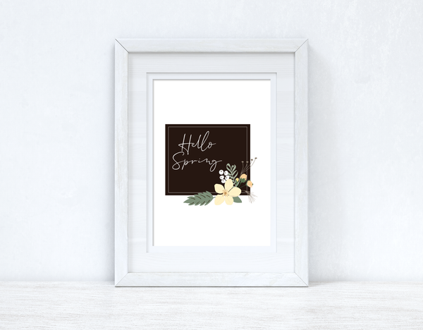 Hello Spring Floral Black Spring Seasonal Wall Home Decor Print