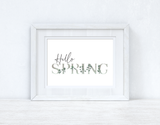 Hello Spring Landscape Greenery Grey Letters Spring Seasonal Wall Home Decor Print