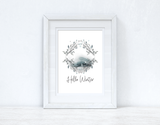 Hello Winter Colour Christmas Seasonal Wall Home Decor Print