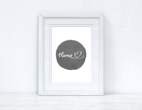 Home Heart Grey Watercolour Circle Home Simple Room Wall Decor Print