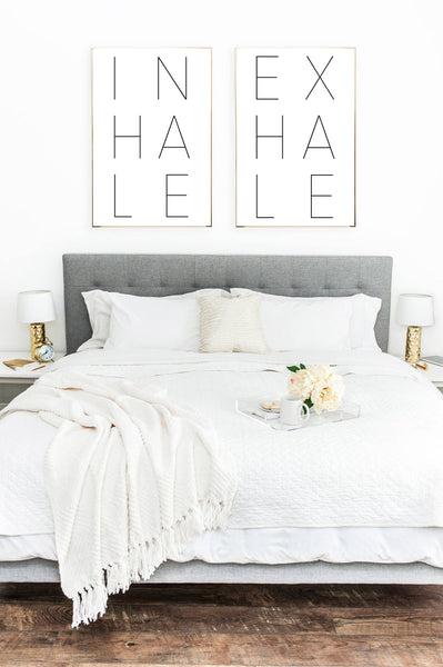 NEW Inhale Exhale Set Of 2 Bedroom Simple Wall Decor Prints