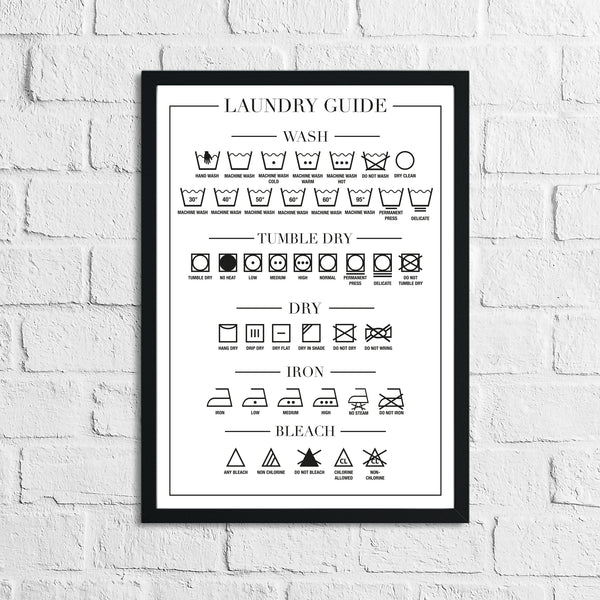 Laundry Guide 2 Simple Wall Home Decor Print