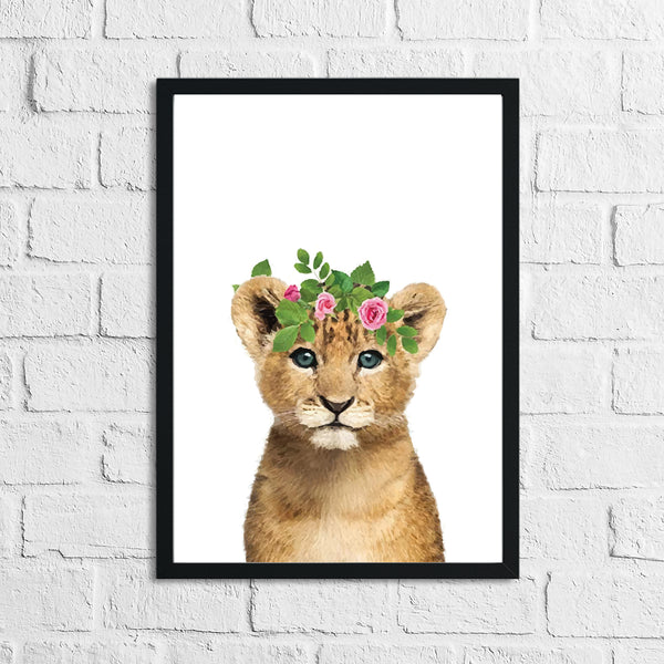 Lion Wild Animal Floral Nursery Children's Room Wall Decor Print