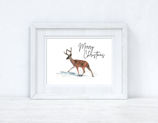 Merry Christmas Reindeer Seasonal Winter Wall Home Decor Print