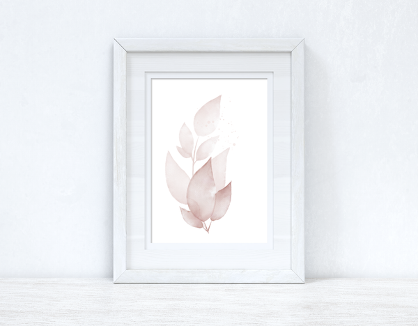 Natural Pinks Watercolour Leaves 5 Bedroom Home Wall Decor Print