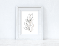 Natural Greys Watercolour Leaves Bedroom Home Wall Decor Print