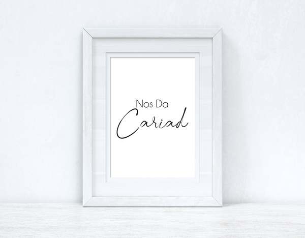 Nos Da Cariad Good Night Love Home Welsh Decor Wall Decor Print