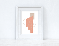 Peach Pink & Beige Abstract 3 Colour Shapes Home Wall Decor Print