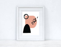 Peach Pink & Black Abstract 5 Colour Shapes Home Wall Decor Print