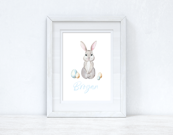 Personalised Blue Wording Bunny Eggs Easter Spring Seasonal Wall Home Decor Print