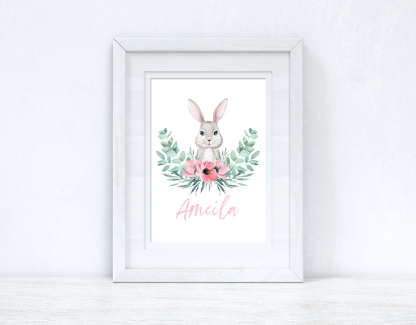 Personalised Pink Wording Floral Bunny Easter Spring Seasonal Wall Home Decor Print