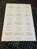 Laundry & Cleaning Waterproof White Sticker Bundle Fine Font - 6.35cm x  7.2cm / 12 Labels
