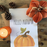 Hello Autumn Half Pumpkin Autumn Seasonal Wall Home Decor Print