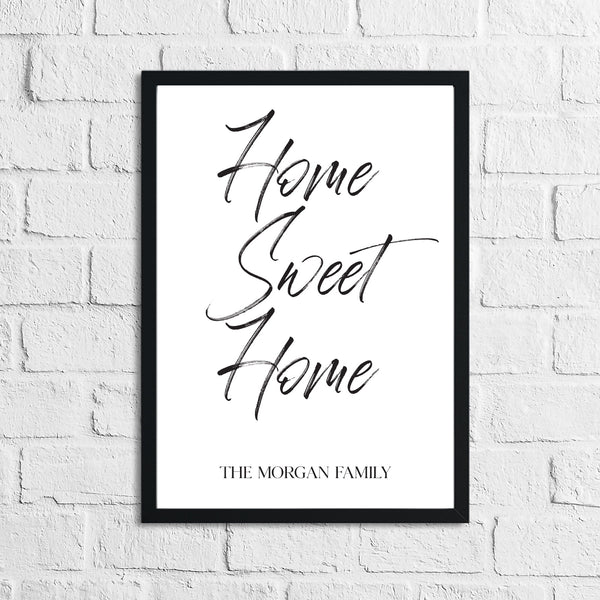 Personalised Home Sweet Home Surname Simple Home Wall Decor Print
