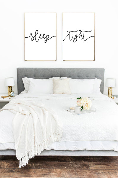 Sleep Tight Bedroom Wall Decor Set Of 2 Print Set