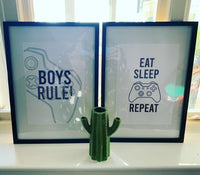 Personalised Name Gamer Eat Sleep Game Repeat Children's Wall Decor Set Of 3 Prints