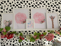 Personalised Pink Watercolour Name Floral Children's Room Wall Decor Print