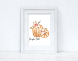 Pumpkin Patch Floral Pumpkins Autumn Seasonal Wall Home Decor Print