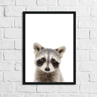 Raccoon Animal Woodlands Nursery Children's Room Wall Decor Print