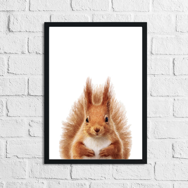 Red Squirrel Animal Woodlands Children's Nursery Room Wall Decor Print