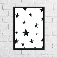 Scandinavian Stars Pattern Children's Nursery Bedroom Wall Decor Print